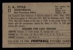 1952 Bowman Small #17  Y.A. Tittle  Back Thumbnail