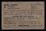 1952 Bowman Small #39  Emlen Tunnel  Back Thumbnail