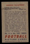 1951 Bowman #8  George Taliaferro  Back Thumbnail