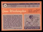 1970 Topps #29  Gene Washington  Back Thumbnail