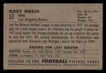 1952 Bowman Small #37  Elroy Hirsch  Back Thumbnail