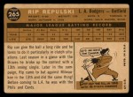 1960 Topps #265  Rip Repulski  Back Thumbnail