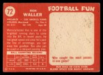 1958 Topps #72  Ron Waller  Back Thumbnail