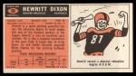 1965 Topps #50  Hewritt Dixon  Back Thumbnail