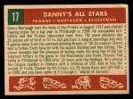 1959 Topps #17   -  Frank Thomas / Ted Kluszewski / Danny Murtaugh Danny's All-Stars Back Thumbnail
