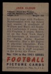 1951 Bowman #124  Jack Cloud  Back Thumbnail