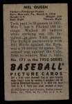 1952 Bowman #171  Mel Queen  Back Thumbnail