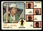 1973 Topps #179 *BRN*  -  Dick Williams / Jerry Adair / Vern Hoscheit / Irv Noren / Wes Stock  A's Leaders Front Thumbnail