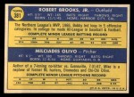 1970 Topps #381   -  Bobby Brooks / Mike Olivo Athletics Rookies Back Thumbnail
