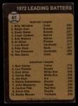 1973 Topps #61   -  Billy Williams / Rod Carew Batting Leaders Back Thumbnail