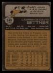 1973 Topps #249  Larry Biittner  Back Thumbnail