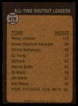 1973 Topps #476   -  Walter Johnson All-Time Shutout Leader Back Thumbnail
