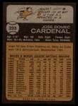 1973 Topps #393  Jose Cardenal  Back Thumbnail