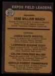 1973 Topps #377   -  Gene Mauch / Dave Bristol / Larry Doby / Cal McLish / Jerry Zimmrman Expos Leaders Back Thumbnail