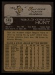 1973 Topps #149  Ron Hunt  Back Thumbnail