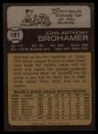 1973 Topps #181  Jack Brohamer  Back Thumbnail