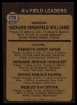 1973 Topps #179 BRN  -  Dick Williams / Jerry Adair / Vern Hoscheit / Irv Noren / Wes Stock  A's Leaders Back Thumbnail