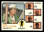 1973 Topps #179 BRN  -  Dick Williams / Jerry Adair / Vern Hoscheit / Irv Noren / Wes Stock  A's Leaders Front Thumbnail