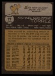 1973 Topps #77  Mike Torrez  Back Thumbnail