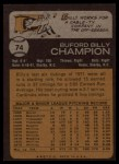 1973 Topps #74  Billy Champion  Back Thumbnail