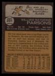 1973 Topps #231  Bill Parsons  Back Thumbnail