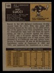 1971 Topps #105  Mike Lucci  Back Thumbnail