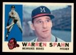 1960 Topps #445  Warren Spahn  Front Thumbnail