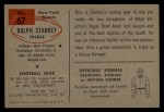 1954 Bowman #67  Ralph Starkey  Back Thumbnail
