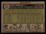 1961 Topps #263 IN Ken Hamlin  Back Thumbnail