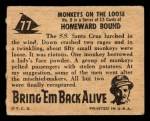 1950 Topps Bring Em Back Alive #77   Monkeys On The Loose Back Thumbnail