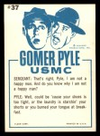 1965 Fleer Gomer Pyle #37   Ever Since I Come Here Sergeant Back Thumbnail