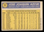 1970 Topps #294  Joe Azcue  Back Thumbnail