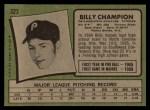 1971 Topps #323  Billy Champion  Back Thumbnail