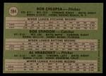 1971 Topps #594   -  Al Hrabosky / Bob Chiupsa / Bob Stinson Cardinals Rookies Back Thumbnail