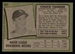 1971 Topps #661  Chuck Tanner  Back Thumbnail