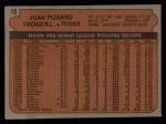 1972 Topps #18 ^YLW^ Juan Pizarro  Back Thumbnail