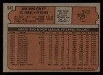 1972 Topps #645  Jim Maloney  Back Thumbnail