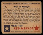 1951 Bowman Red Menace #17   War in Malaya Back Thumbnail