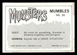 1964 Leaf Munsters #20   Darling Do You Think I'm Still Back Thumbnail