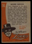1958 Topps Zorro #56   Weird Noises Back Thumbnail