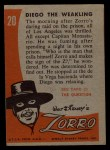 1958 Topps Zorro #20   Diego The Weakling Back Thumbnail