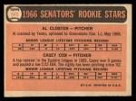 1966 Topps #549   -  Al Closter / Casey Cox Senators Rookies Back Thumbnail