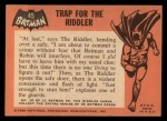 1966 Topps Batman Black Bat #45 BLK  Trap for the Riddler Back Thumbnail