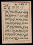 1966 Leaf Good Guys Bad Guys #25  Crazy Horse  Back Thumbnail