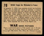 1939 Gum Inc. War News Pictures #78   British Troops Are Welcomed In France Back Thumbnail