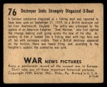 1939 Gum Inc. War News Pictures #76   Destroyer Sinks Strangely Disguised U-Boat Back Thumbnail