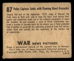 1939 Gum Inc. War News Pictures #87   Poles Capture Tanks With Flaming Hand Grenades Back Thumbnail