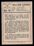1966 Leaf Good Guys Bad Guys #19  Bill Carver  Back Thumbnail