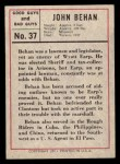 1966 Leaf Good Guys Bad Guys #37  Jack Behan  Back Thumbnail