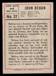 1966 Leaf Good Guys Bad Guys #37  Jack Behan  Back Thumbnail